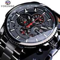Forsining Trois Cadran Calendrier Affichage En Acier Inoxydable Noir Hommes Montre-Bracelet Automatique Top Marque De Luxe Sport Militaire Mâle Horloge