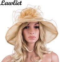 Lawliet Wide Brim Hats đối với Phụ Nữ Bãi Biển Mùa Hè Hat Organza Fancy hoa Tô Điểm Cho Floppy Ladies Nón Mặt Trời Kentucky Derby Đua Rộng Cap