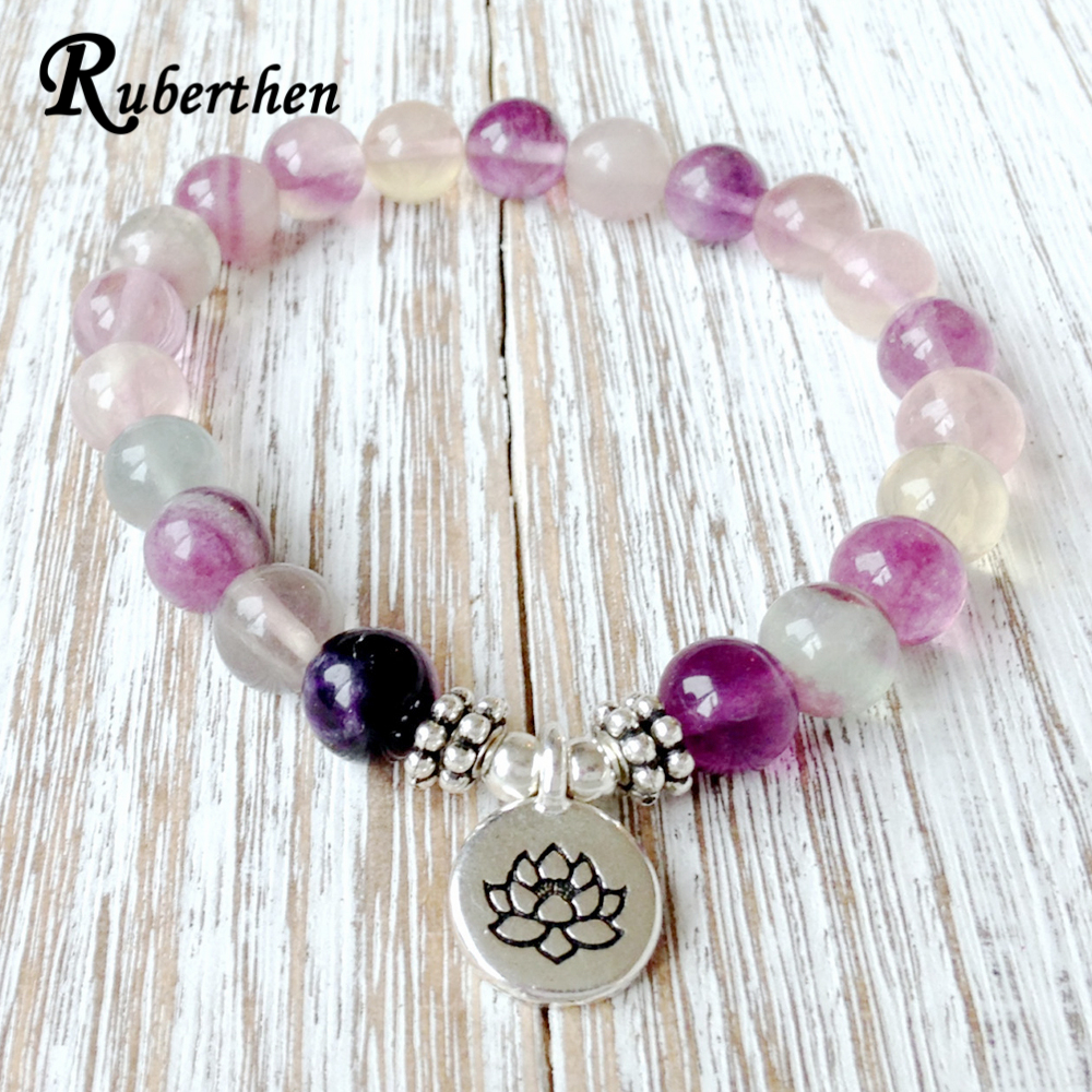 Ruberthen Natural Fluorite Yoga Bracelet Fashion Girl`s Chakra Jewelry Aura Cleansing Healing Crystals Bracelet Wrist Jewelry