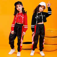 promo code 8c616 57219 Children Hip Hop Clothing Cropped Hoodie Sweatshirt Shirt Tops Casual Pants  for Girl Dance Costume Wear Ballroom Dancing Clothes