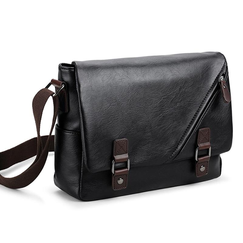 Luxury Brand Leather Men's Messenger Bag Male Black Business Sling Bags Vintage Crossbody Bags For Men Casual Shoulder Bag Bolsa