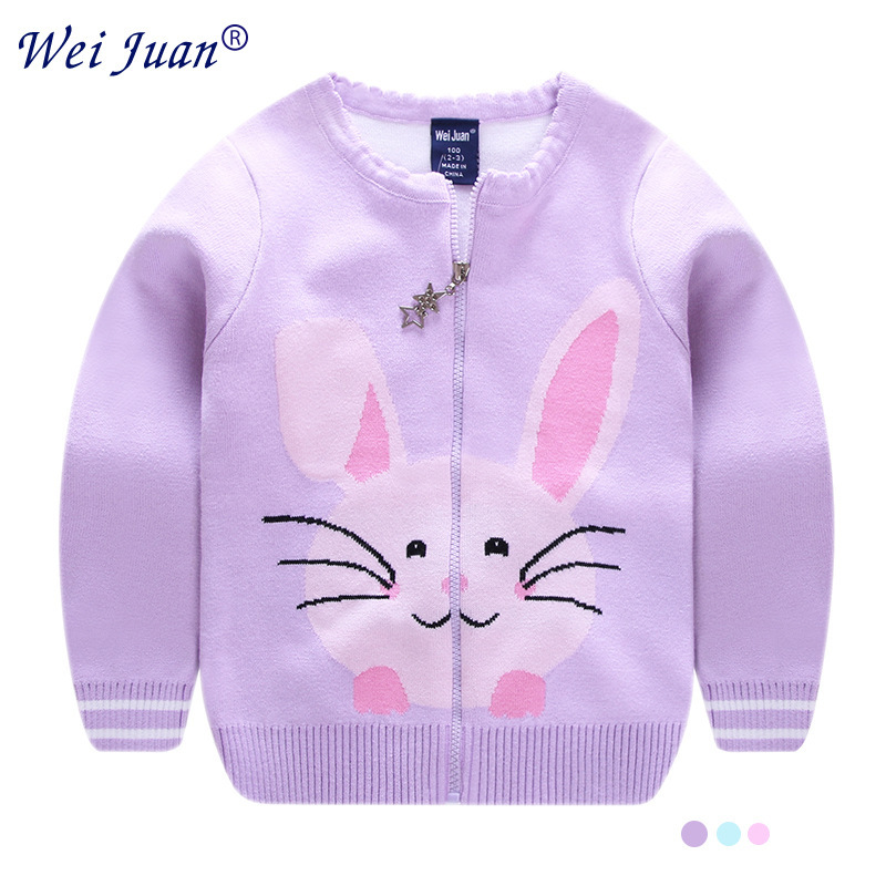 Cartoon Baby Girl Sweater 2018 Brand Winter Girl Long Sleeve Knitted Zipper Coat Kids Autumn Sweater For Girls Christmas Coat sweet bow girl sweater cardigan coat autumn kids knitted cotton sweater for baby girl long sleeve o neck cardigan girls clothing