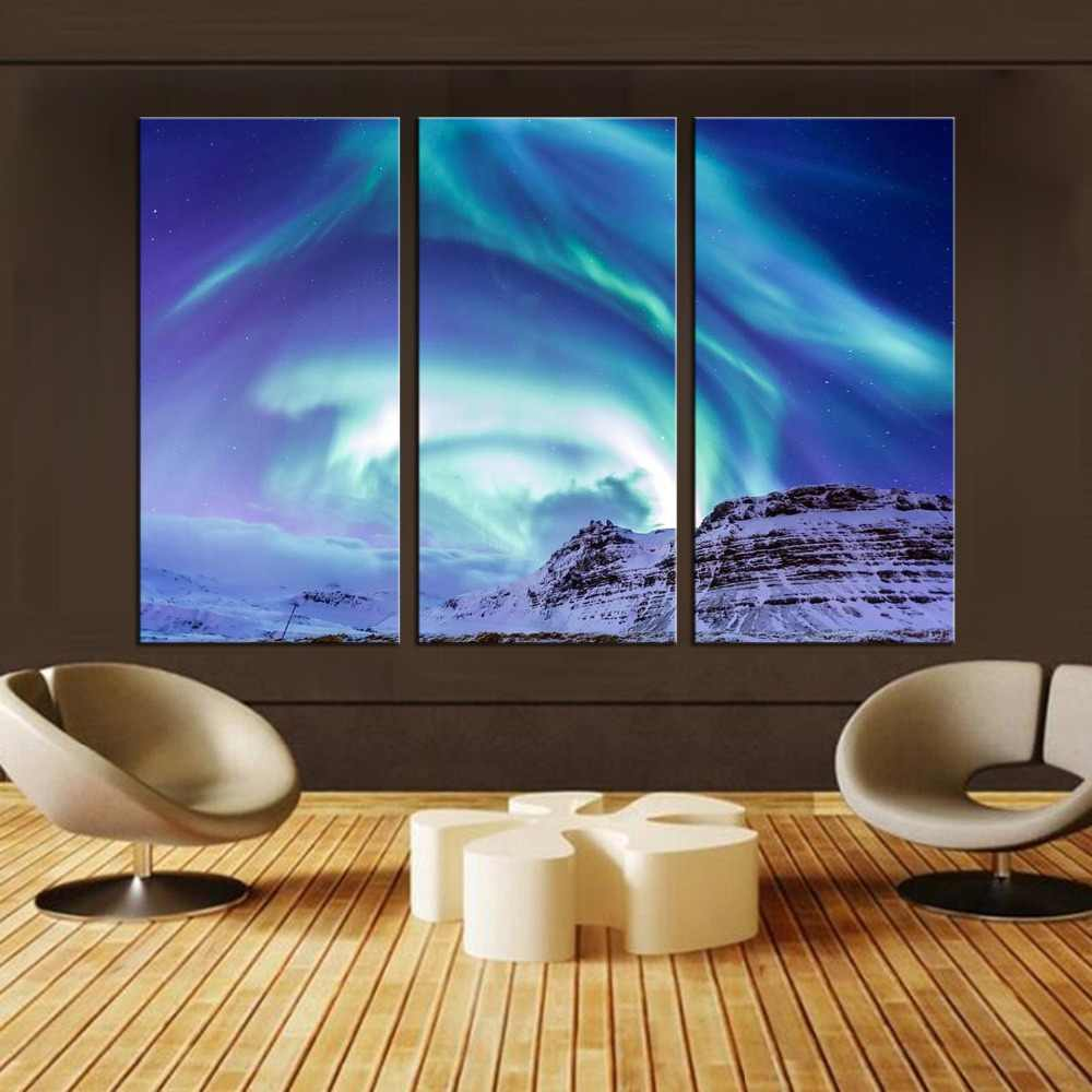 3 Pcs/Set Aurora Borealis Northern Lights Canvas Oil Painting Modern Prints On Canvas Wall Art Home Decoracion