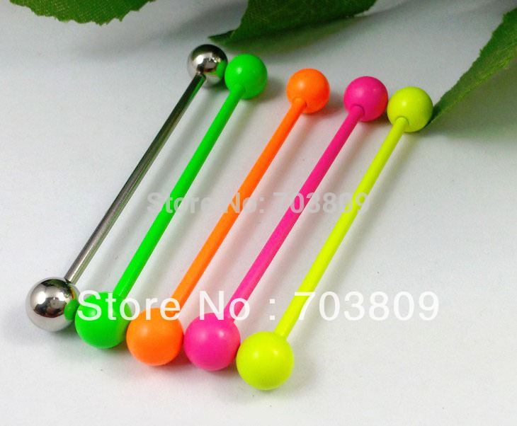 Mens Stainless Steel Ball Barbell Ear Piercing Studs Earrings Industrial Body Jewelry Sale Fashion More Colors