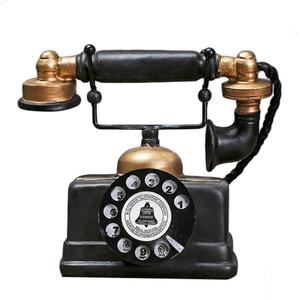 New Hot Creative Promotional Gift Retro Telephone Model Antique Desktop Ornament Craft Home Decoration Figurines Specific Gift