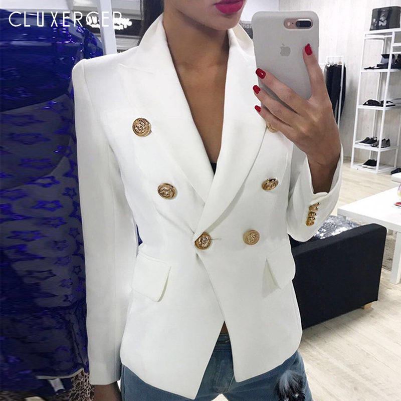 Blazers Ladies Women 2019 Spring Autumn Women Suit Jacket Blazer Femme Double-breasted Office Lady Blazer