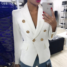 HIGH QUALITY Newest Fashion 2017 Designer Jacket Blazer Womens Long Sleeve Double Breasted Gold Buttons