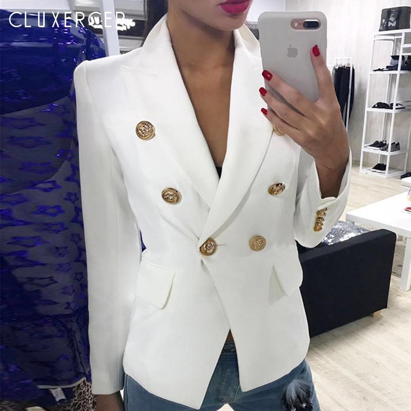 Blazers mujer 2019 primavera otoño mujer traje chaqueta Blazer mujer doble botonadura Oficina señora Blazer-in chaqueta de deporte from Ropa de mujer    1