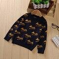 De los bebés del suéter del resorte del otoño niños del o-cuello impreso letra largo sleece moda navidad niño cardigan ropa de los niños 2-6 T