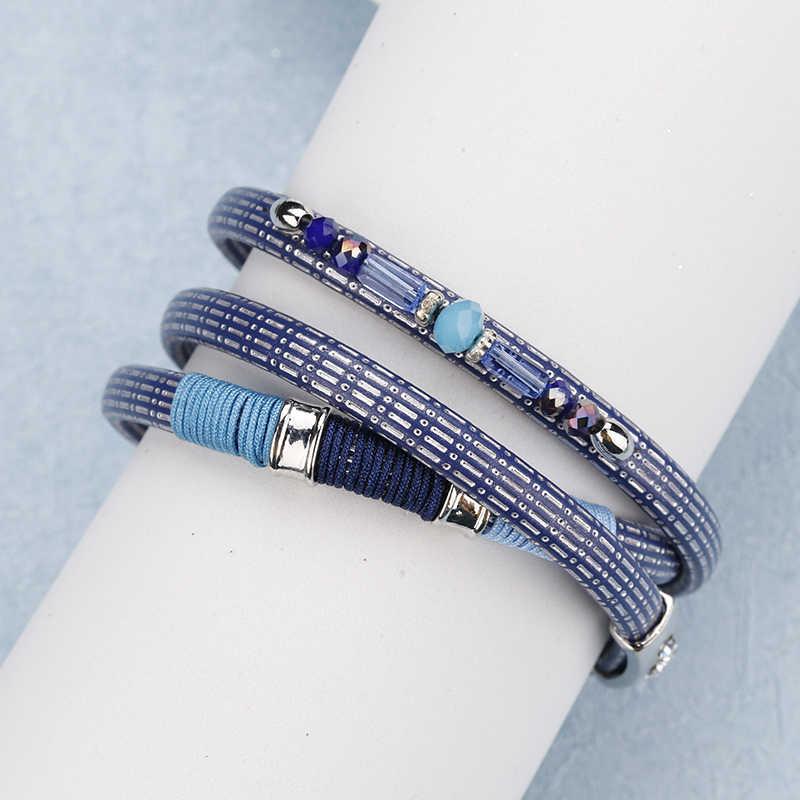 Allyes Blue Kulit Gelang untuk Wanita Trendi Buatan Tangan Bohemia Gelang Crystal Pesona Multilayer Gelang Femme Perhiasan