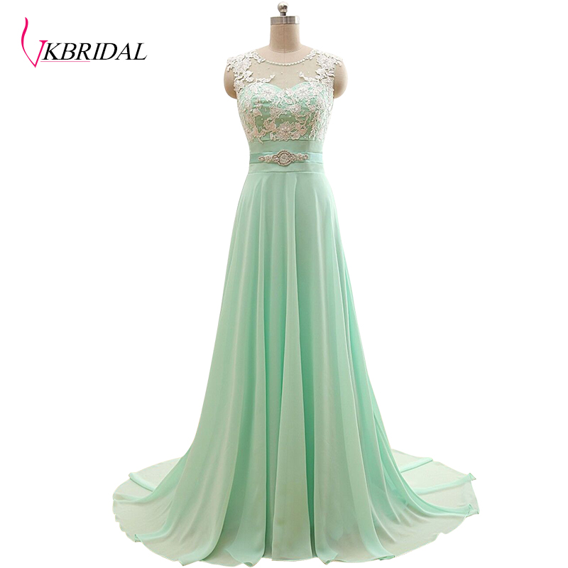 VKBRIDAL Long Lace Beaded Mint Green   Bridesmaid     Dresses   Sweetheart Floor Length Chapel Train Formal Gowns Wedding Party   Dresses