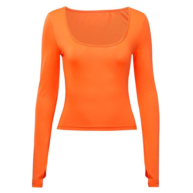 Shestyle manga larga básica Sexy camiseta mujer otoño sólido neón Bodycon Camisetas cuello redondo de invierno Crop Tops ropa de Festival