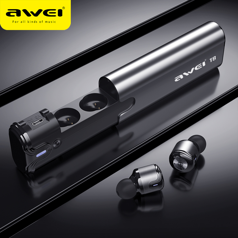 AWEI T8 TWS Bluetooth Earphone True Wireless Earbuds With Power Bank Dual Microphone 3D Stereo In
