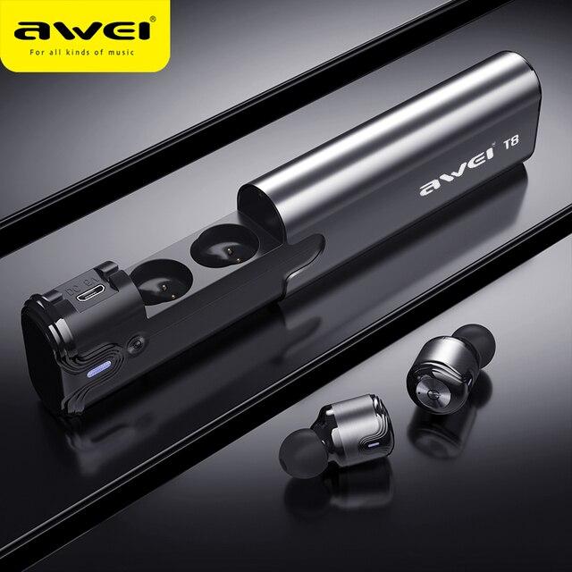 AWEI T8 TWS Bluetooth Kopfhörer Wahre Drahtlose Ohrhörer Mit Power Bank Dual Mikrofon 3D Stereo In Ohr Kopfhörer Für xiaomi iPhon