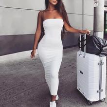 2019 Women Elegant White Bodycon Midi Party Dresses Sleeveless Sexy Off Shoulder Solid Tube Sheath Dress