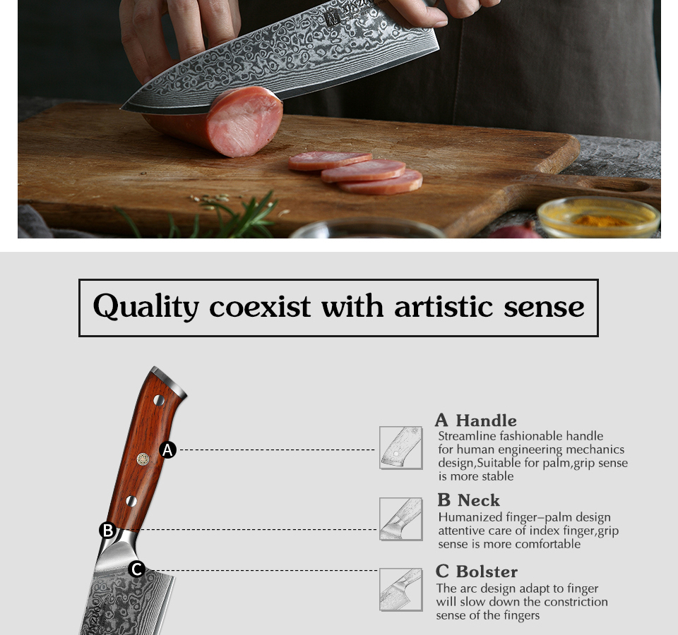 HTB1k5eQa. rK1Rjy0Fcq6zEvVXaR - 8.5 inch Chef Knives High Carbon VG10 Japanese 67layer Damascus Kitchen Knife Stainless Steel