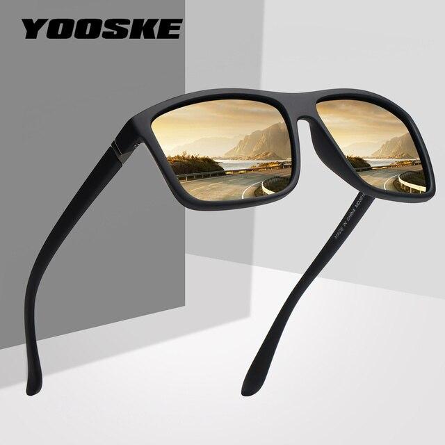 ef4d0145a8537 YOOSKE Marca Mens Óculos Polarizados Condução Motorista óculos de Sol Das  Mulheres Do Vintage Retângulo Especial