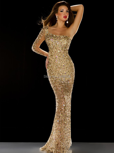 2015 Dubai Gorgeous Evening Dress Long Sleeve One Shoulder Mermaid Gold  Sequin Rhinestone Beads Prom Party Dresses Pageant Gowns a60e9347e7d3
