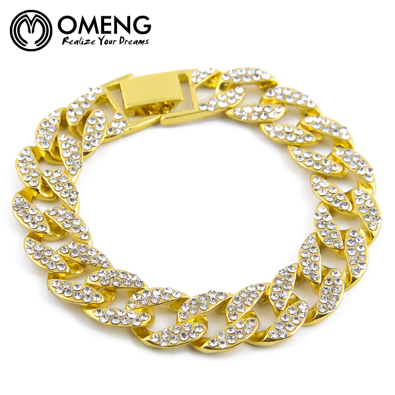 6154576c063f OMENG Acier Inoxydable Bracelets Curb Cubain Chaîne Hommes Bracelet Bijoux  pulseira masculina De Noël Cadeau OSL052