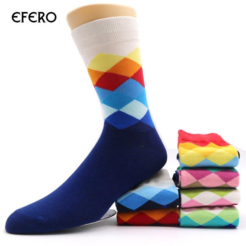 efero Cotton Sock for Men Autumn Winter Socks Warm Colorful Rhombus Pattern Socks Fashion Business Men Short Ankle Sock Funny