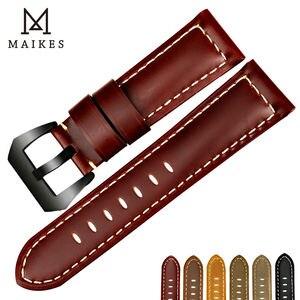 Image 2 - MAIKES جديد الساعات 22 24 26 مللي متر الرجال الأسود جلد طبيعي حزام (استيك) ساعة اليد اكسسوارات ل بانيراي أو سامسونج gear s3