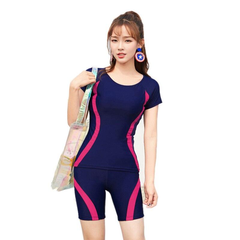 4 Colors Women Two Piece Swimsuit Sport Short Sleeves Swimsuit Plus Size Tankini Girls Elastic Shorts Swimming Suit Beachwear