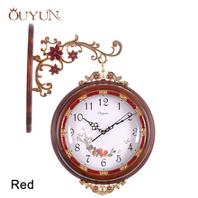 OUYUN Luxury Wooden Retro Flip Wall Clock Double Sided Large Decorative Vintage Wall Clock Silent Home