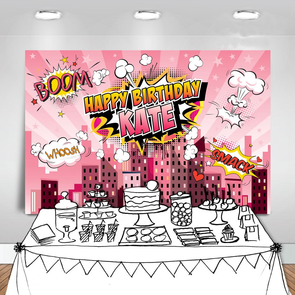 custom super hero girls city skyline clouds background High quality Computer print party backdrops