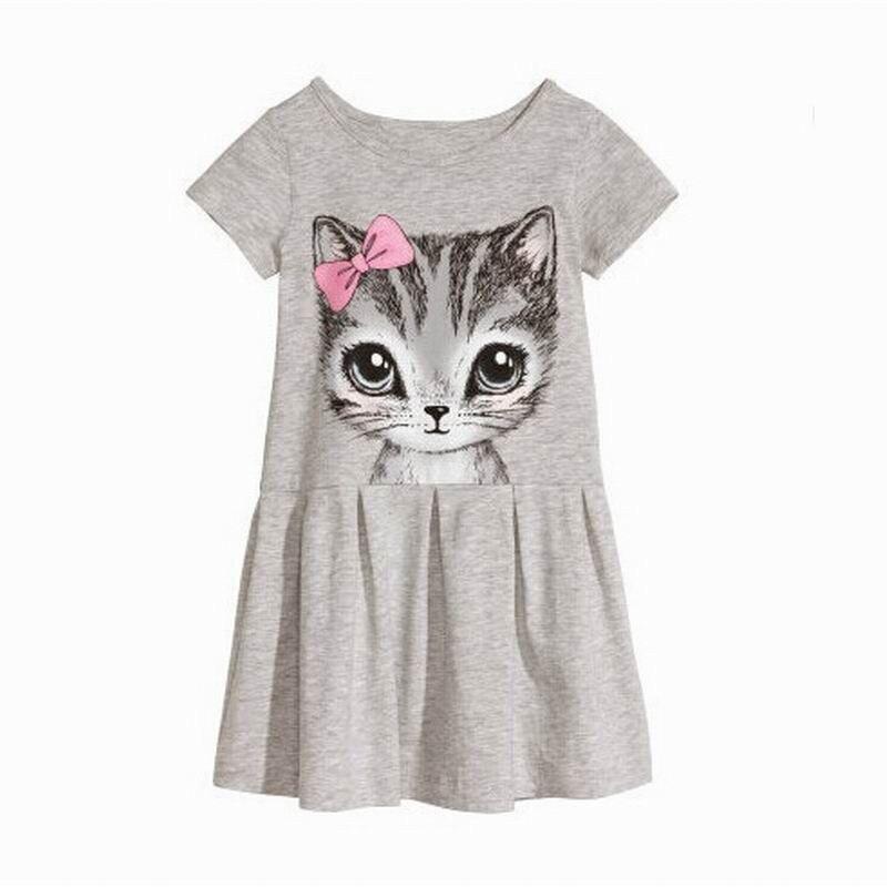 Summer New childrens clothing dress girl full cotton print cute bow cat suit A-line dress children cat girl kid dress