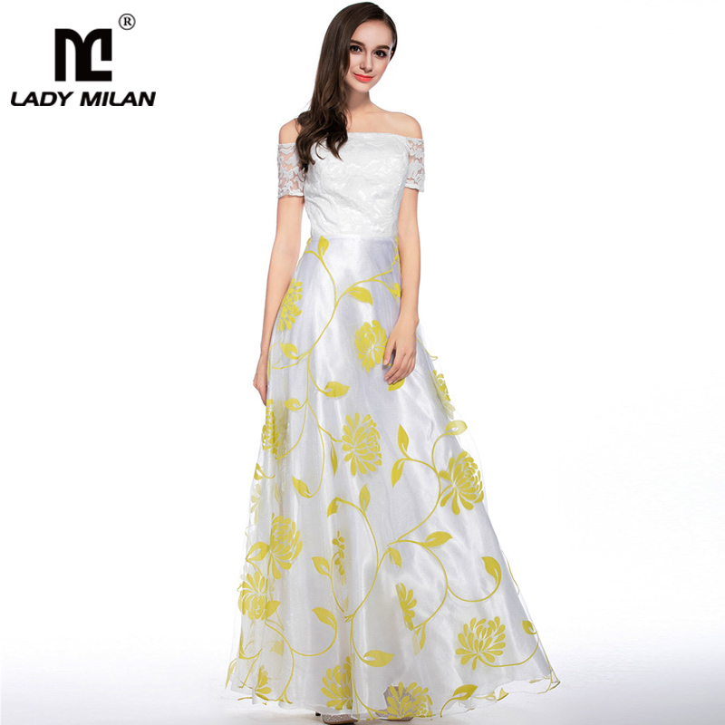 New Arrival 2018 Womens Sexy Off the Shoulder Floral Printed Embroidery A Line Long Fashion Organza Party Prom Casual Dresses