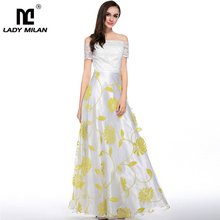 New Arrival 2019 Womens Sexy Off the Shoulder Floral Printed Embroidery A Line Long Fashion Organza Party Prom Casual Dresses