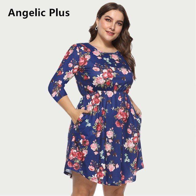 5e5b9afecc0 2018 Plus Size Summer Dress Women Lady s Floral Printed Party Wedding Prom Short  Dress Casual Maxi Elegant Dress For Girls