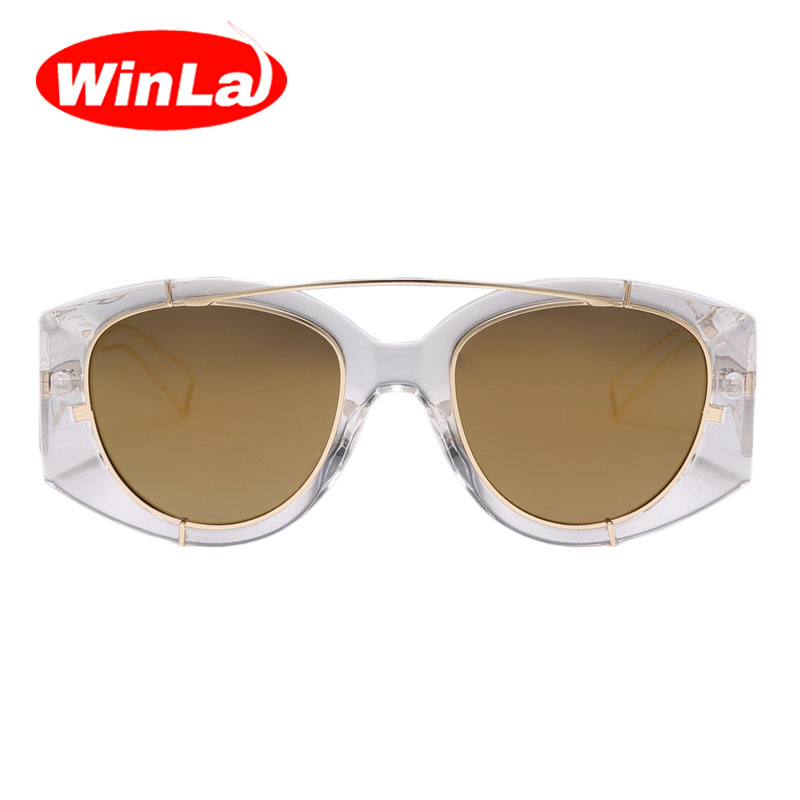 Winla Fashion Pink Mirror Sunglasses Vintage Men Sun glasses Double ...