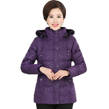 Woman Winter Hooded Puffer Quilted Jackets Blue Red Purple Basic Wadded Coats Middle Aged Women's Hood Puffer Coat Padded Parka