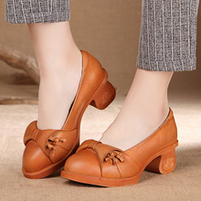 Golden Monkey Leather ShoesSpring/Autumn Slip-ON Comfortable High-end Handmade Elegant Bowtie Comfortable Women Shoes