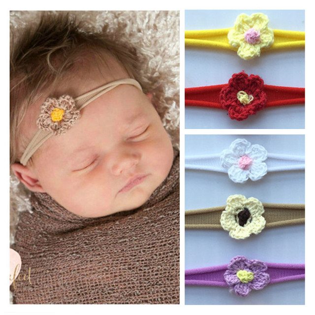4f8930ed860f 6pcs BbesTurban Headband Seamless nylon elastic headband Wool sun flower  Elastic Hair Bands Colorful Flowers Girls Hairband