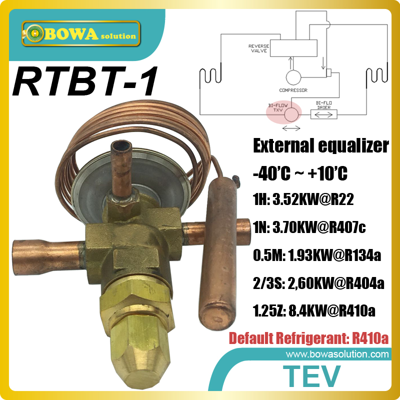 RTBT-1 Bi-flow thermostatic expansion valves with solder connection suitable for heat pump water heater and air conditioner rtb 8 42 2kw r410a bi flow tev is installed in heat pump water heater and air conditioner and reduce refrigeration omponents