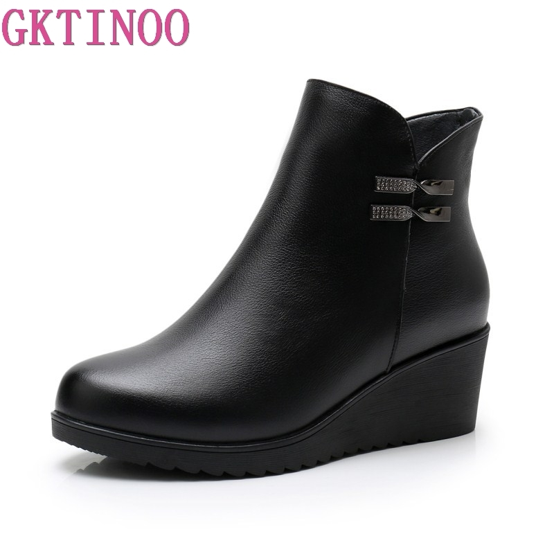 GKTINOO 2019 Genuine Leather Warm Winter Boots Shoes Women Ankle Boots Female Wedges Boots Women Boot
