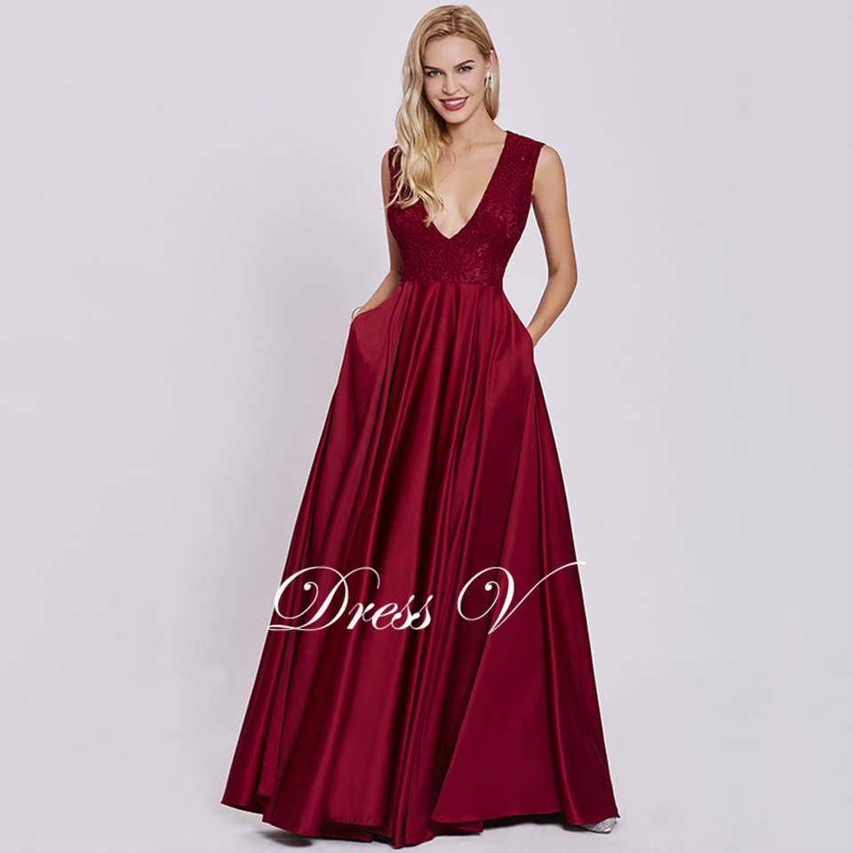 032cea74896fd US $49.89 42% OFF|Dressv rust red elegant long evening dress cheap v neck  sleeveless a line wedding party formal dress lace evening dresses-in  Evening ...