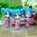 9 cm 3 peças Anime kawaii figura de ação Hatsune bonecas Menina Pelucia Desktop decoração Colecionáveis Brinquedos Crianças Brinquedos Juguetes