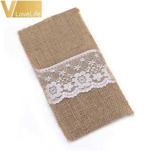 """Image 3 - 100pcs Burlap Lace Cutlery Pouch Wedding Tableware Pouch Party Holder Bag 4"""" x 8"""" Hessian Rustic Jute Table Decoration"""