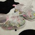 Бесплатная доставка перлы rhinestone кристалл Прекрасный детские малыш Обувь ручной работы детские малыш обувь bling мода девочка мягкая обувь