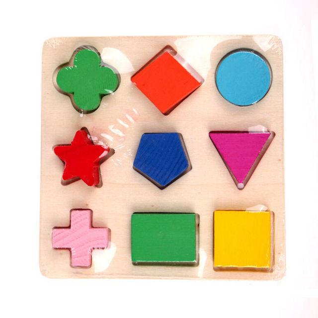 1 PC 3 patrones niños bebé madera aprendizaje geometría juguete educativo rompecabezas Montessori Aprendizaje Temprano