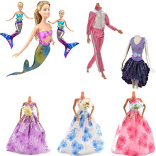 1PC Fashion Princess Wedding Mermaid Sportswear Dresses For Barbie Doll Handmade Party Doll's Clothes Gown Baby Toys For Girls(China)