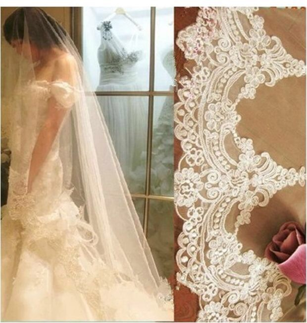 2018 3M White/Ivory Long Wedding Veil Women Cathedral Length Lace Edge Wedding Bridal Veil With Comb Wedding Accessories