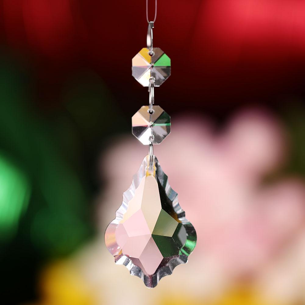 Crystal Chandelier Lighting Pendant 14mm Octagonal Bead + 50mm Maple Leaf New Maple Leaf For Pendant Lighting Wedding Home Decor