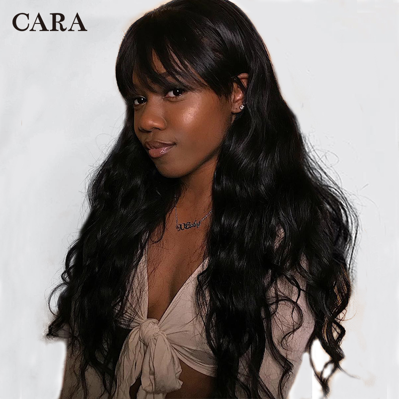 13x6 Lace Front Human Hair Wigs Brazilian Body Wave Wig With Bangs 360 Lace Frontal Wig Pre Plucked With Baby Hair CARA Remy