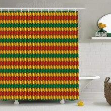 Rasta Shower Curtain Geometrical Zig Zag Inspired Shapes In Flag Colors Art Print Fabric Bathroom Decor
