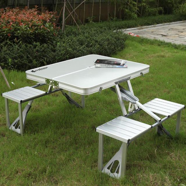Aluminum Portable Outdoor Folding Tables And Chairs Suit Set 4 Picnic Suitcase