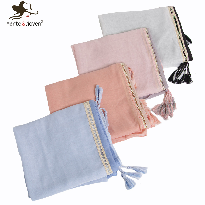 Marte&Joven Spring Autumn   Scarf   Shawls Women Elegant Muslim Soft Warm Hijab Fashion Gradient Patchwork Ladies Long   Scarves     Wraps